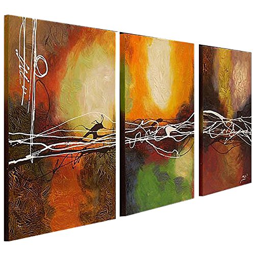 Cherish Art Hand Painted Oil Painting Colorful Abstract Flow 3 Panels Wood Inside Framed Hanging Wall Decoration