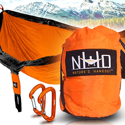 Premium Camping Hammock (Black & Orange) - Large Double Size, Portable & Lightweight. Aluminum Wiregate Carabiners Included. Ultralight Parachute Nylon. Best For Backpacking, Travel, Beach, & Hiking