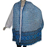 Womens Cotton Beaded Scarf Bandhni Style Clothing Accessory from India 102 x 209 cmsby DakshCraft
