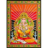 DollsofIndia Ganesha Sitting On Throne - Print On Cloth With Sequin Work - Unframed