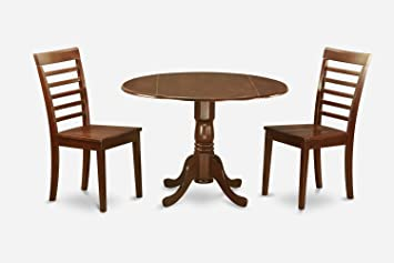 East West Furniture DLML3-MAH-W 3-Piece Kitchen Table and Chairs Set