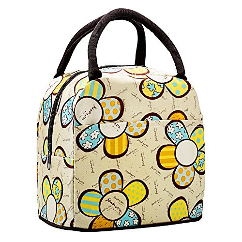 Lady Girls Lightweight Red Dot Printed Waterproof Medium Lunch Picnic Bag Snacks Grocery Tote Handbag - 1