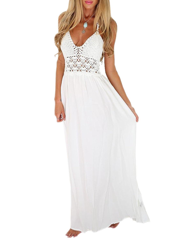 VIISHOW Women's Summer Beach Sexy Crochet Backless Bohemian Halter Maxi Long Dress g2 chic women s bohemian summer maxi dress