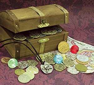 Kid's Treasure Chest with Replica Pirate Coins/Foreign Coins/Gems/Necklace Coin Jewelry by UPM Global, LLC