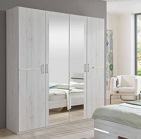 4-trg. Kleiderschrank in Weißeiche-Nb., Aufleistungen in Chrom glänzend, 2 Spiegeltur, 2 Einlegeböden, 2 Kleiderstange, Maße: B/H/T ca. 180/210/58 cm
