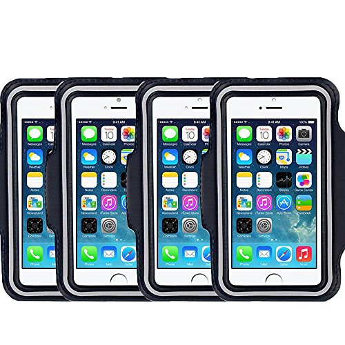 [4 Pack]Armband for iPhone 6 Plus iPhone 6S Plus iPhone 6/6S Galaxy S5/S6 Plus S7 CaseHigh Shop Sports Running & Exercise Gym Sportband (5.5-Inch) Defender with Key Holder (Black) (Samsung Galaxy S4 Mini 3g compare prices)