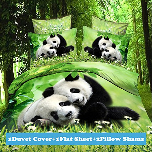 Lt Twin Full Queen Size 4-pieces 3d White Flowers Green Grassland Panda Prints Duvet Cover Sets/bedding Sets / Bed Linens (Twin, 1 Duvet Cover+1 flat sheet +2 Pillowcases)