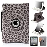 E-LV 360 Degrees Rotating Stand Luxury Leopard Design PU Leather Case for Apple New iPad Mini with Automatic Wake and Sleep function+1 Black Stylus, 1 Screen Protector and E-LV Microfiber Sticker Digital Cleaner (Gray, iPad Mini)
