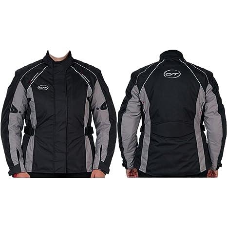 CT veste de moto pour femme «madeira», taille 42 (noir/argenté taille cintrée coupe pour femme-coupe-vent et étanche-protection