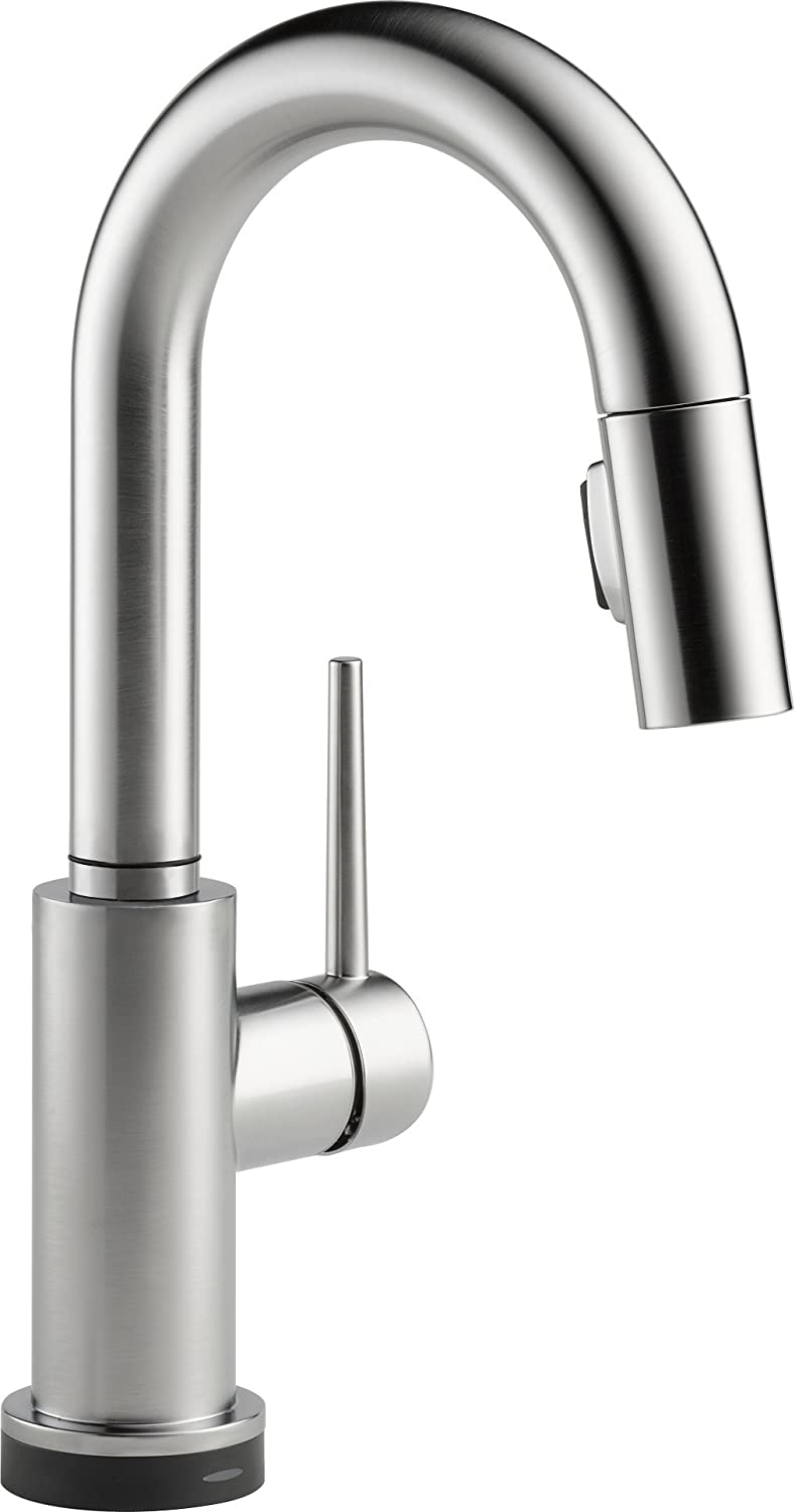 Delta Faucet 9959T-AR-DST Trinsic Single Handle Pull-Down Bar/Prep Faucet Featuring Touch2O Technology, Arctic Stainless