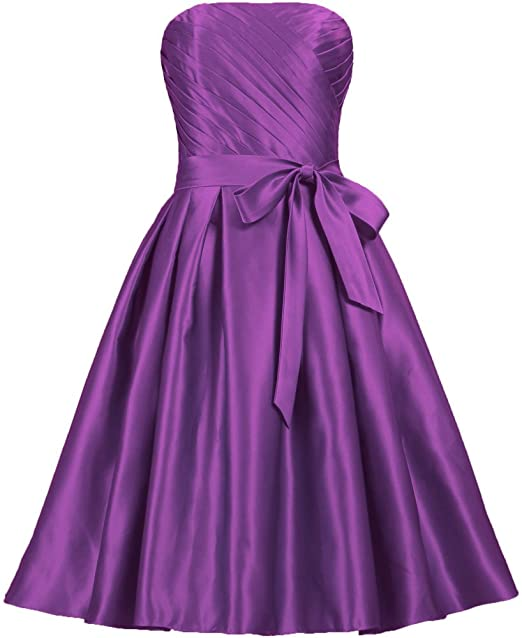 ANTS Women's Strapless Satin Bridesmaid Dresses Short Dress Size 16 US Purple