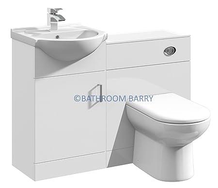 1050mm Modular High Gloss White Bathroom Combination Vanity Basin Sink Cabinet, WC Toilet Furniture & BTW Pan