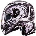 Dual Visor Modular Flip up Matte Black and White Demon Samurai Motorcycle Snowmobile Helmet DOT