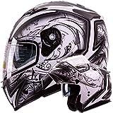 Dual Visor Modular Flip up Matte Black and White Demon Samurai Motorcycle Sno...