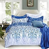 Dexim (4 Pieces) Exclusive Bedding Set with Reversible Duvet Cover White/Blue