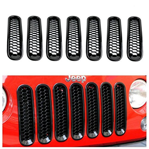 Danti 2016 Latest Design Black Honeycomb Trim Grill Grille Cover Insert Mesh Frame for Jeep Wrangler JK & Unlimited 2007-2016 - 7 Pieces Kit (Honeycomb Version) (Grill Cover Insert compare prices)