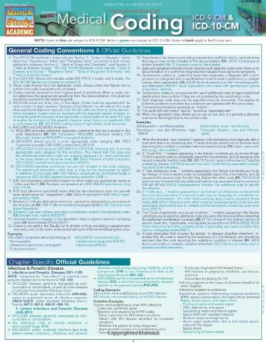 Medical Coding: ICD-9 & ICD-10-CM: Quick Study Guide