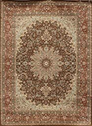 New City Chocolate Brown Traditional Isfahan Wool Persian Area Rugs 5\'2 x 7\'3
