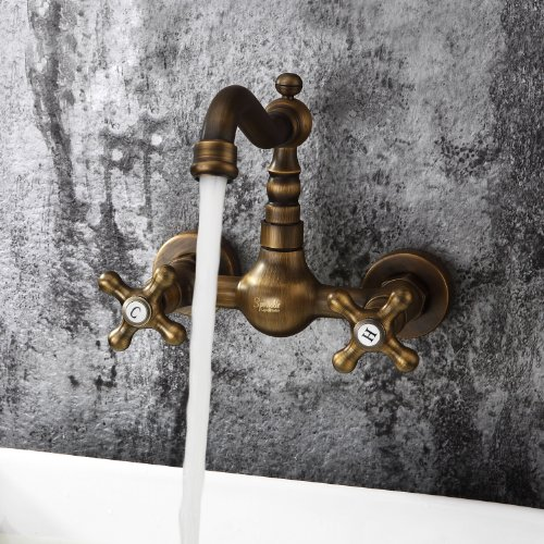 Ouku® Antique Inspired Bathroom Sink Faucet Wall Mount Solid Brass Big Discount Unique Designer Plumbing Fixtures =Faucet Lavatory Metal Basin Faucet Two Holes and Handles Bathtub Mixer Taps Bath Shower Ceramic Valve Included Vintage Curve Tall Spout Bar Faucets Bronze