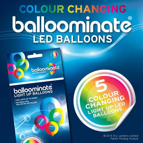 Mixed - 5 Pack. Colour Changing Led Light Up Balloominate Balloons. Great For Parties And Celebrations.