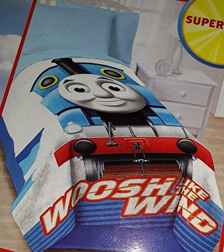 """Thomas & Friends """"Woosh like the Wind"""" Twin Size Super Soft Micro Raschel Blanket Oversized - 62in x 90in - 1"""