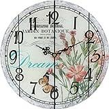 Amazon.co.jp不二貿易 ガラス アンティーク 時計 ピンクフラワー 89776