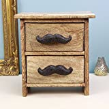 Homey Moustache Style Wooden Chest of 2 Drawers Jewelry Organizer, 8 x 4.5 x 8 Inches