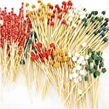 ThinkBamboo 300 pc Assorted Bamboo Picks, 100 each of the following end decorations, ball, flower, Red Cord ~ ThinkBamboo - Cooking