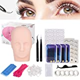 Eyelash Extension Kit, Beauty Star Professional Eyelashes Kit False Eyelashes Extension Tool Practice Kit for Makeup Practice Eye Lashes Graft with Mannequin Training Head