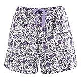 Leisureland Women's Cotton Poplin Pajama Lounge Boxer Shorts Floral Purple