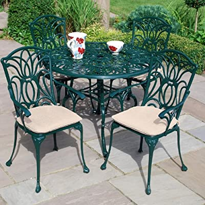 Leisuregrow Norfolk 4 Seater 100cm Round Aluminium Table with Green Armchairs - Metal Garden Furniture Set - 4 Seater Dining Set - Outdoor Patio Table and Chair Set
