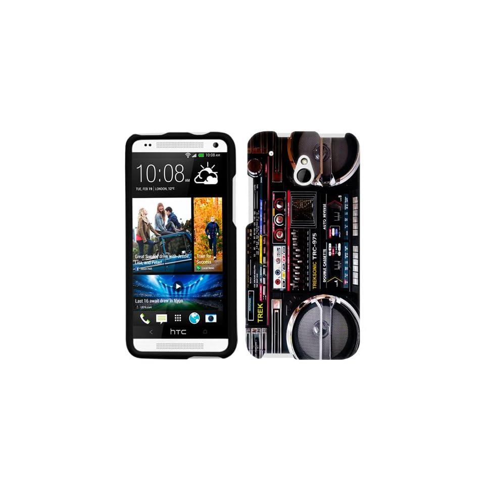 HTC One Mini Retro Black Ghetto Blaster Boombox Phone Case Cover Cell Phones & Accessories