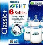 6x Philips Avent 260ml 9oz bebé biberón anticólicos Classic + Rango 0meses +. Sistema anticólicos y libre de BPA