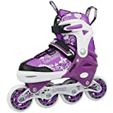 Crazy Skates 168 Kids Adjustable Purple Inline Skate - Adjusts 4 Sizes - j12 to Size 2 with Free Love Skating Tote Bag