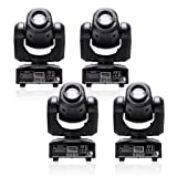 U`King 4pcs One Set Stage Lights, Portable LED Spot Moving Head Light 25W RGBW 4 Color with 4 Control Mode for Party Disco DJ Show DMX-512 (Color: 4Pack with Black)