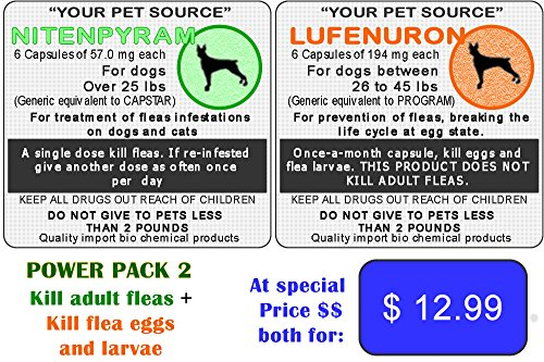 12 Flea killer Combo Generic = 6 Generic Capstar for Dogs Over 25 lbs + 6 Generic Program (Lufenuron) 26-45 lbs