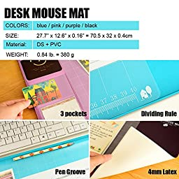 Ranbow bigmatpurple Innovative Huge Gaming Mouse pad, Anti-slip Mat, Natural Gel Desk Protector with Pockets, Dividing Rule, Pen Groove, Table Organizer in Purple