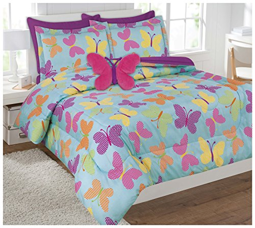 6 piece comforter set kids bed in a bag twin butterfly home garden linens bedding bedding. Black Bedroom Furniture Sets. Home Design Ideas