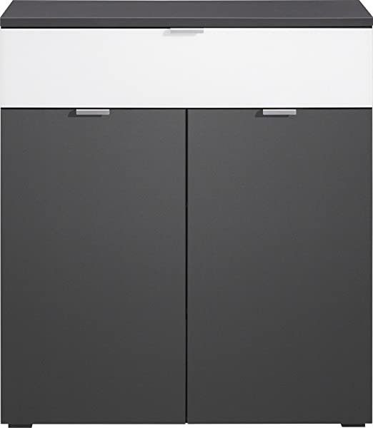 CS Schmalmöbel 35.093.146/11 Compleo Kommode Typ 11, 91 x 101 x 38.5 cm, graphit / weißglas