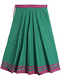 DollsofIndia Black Print On Cyan Green Cotton Long Skirt - Length 38 Inches - Green