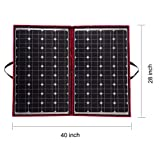 DOKIO 100 Watts 12 Volts Monocrystalline foldable Solar Panel with Charge Controller (Color: Black,Red, Tamaño: 110watt)