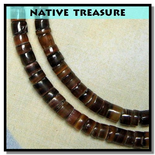 Native Treasure Brown Pin Puka Shell Necklace Surfer Beach Puca Choker 5mm 3 16 18 Inch