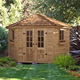 Wood Outdoor Storage Shed/Poolhouse - Large Shed to Organize Your Garden Tools & Pool Supplies - Space Saver Shape - Very Attractive - 2 Windows - Red Cedar Construction - Hardware Included - 9 ft. x 9 ft - Protect Your Tools - 1 Year Warranty
