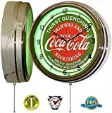 "Coca Cola 15"" Neon Wall Clock Lighted Distressed Sign Soda Pop Shop Coke Bottle Logo Vintage Retro Style Green"