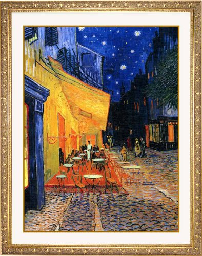 限定オリジナルアート額 ゴッホ 「夜のカフェテラス」 高画質 ジグリー刷 ゴールド額装 61x50cm