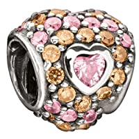 Chamilia Jeweled Heart in Heart - Pastel Pink and Orange CZ Bead
