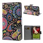 Colorful Flower Ribbon Leather Wallet Case for LG Optimus G2 D801 D802 Clutch Style Cell Phone Purse Wallet