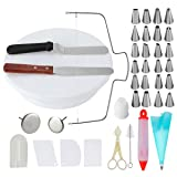 Cake Decorating Supplies with 24 Piping Nozzles Roating Cake Turntable,Cake Leveler with 2 PCS 12.7'' Icing SpatulaIcing,Smoother,Pastry Bag,Cake Syring,Cutter,Flower Lifter (Tamaño: TH050)