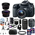 Canon EOS 70D 20.2 MP Digital SLR Camera with Dual Pixel CMOS AF Body and EF-S 18-55mm F3.5-5.6 IS STM + Accessories Kit With Canon Zoom Telephoto EF 75-300mm f/4.0-5.6 III Autofocus Lens + 32GB and 8GB Card + Bag + Backpack + Flash + Telephoto & Wide Ang