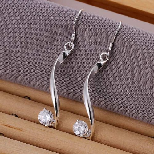 925 Silver Plated Earrings Torsion Wire Rhinestone Ear Drop Jewelry By Chonlyshop